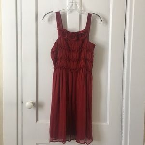 Anthropologie Red Dress with Flower Detail